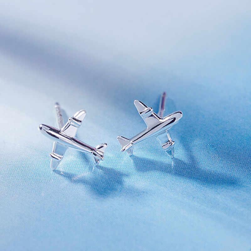 Nowa moda śliczne srebrny kolor 3d samolot samolot samolot stadniny kolczyki dla kobiet dziewczyna Handmade Tiny