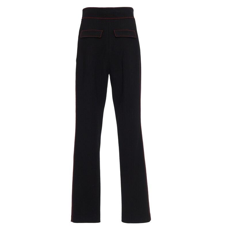 Pantalones Mujer Bouton Femelle Pantalon Style New Droite Black Limitée Breasted Haute Femmes Summer Régulier Taille Européen FFrqd