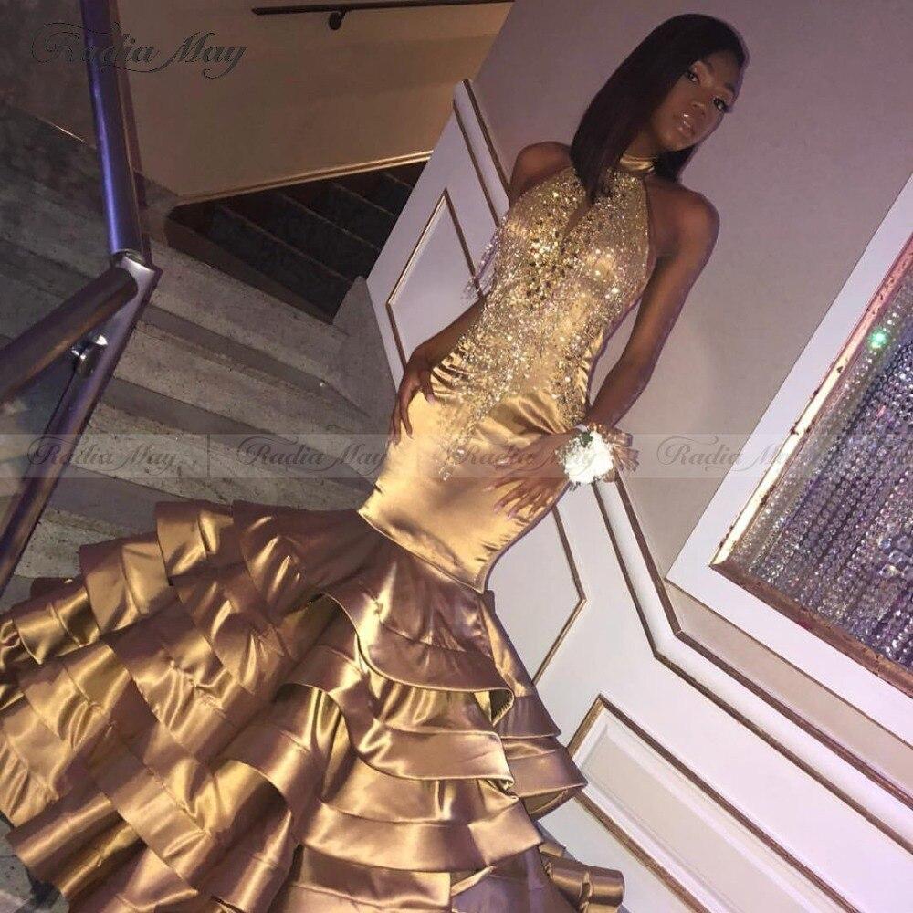Dark Gold Satin Puffy Mermaid Prom Dresses 2019 Elegant High Neck Beading Tassel Tiered Ruffles African