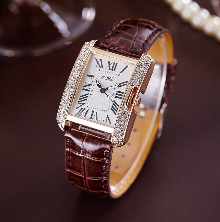 2017 Rectangle Leather Band Rhinestone Quartz Wrist Watches For Women Top Brand Luxury Ladies Dress Clock