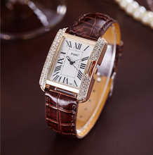 2017 Rectangle Leather Band Rhinestone Quartz Wrist Watches Women Top Brand Luxury Ladies Dress Wristwatches Relogio Feminino