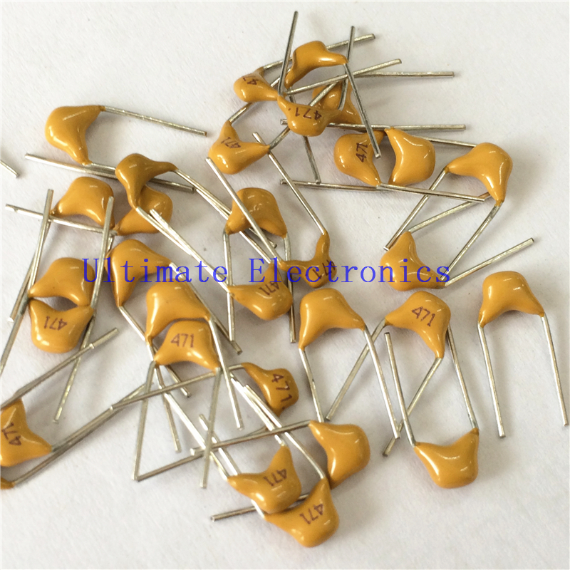 100pcs/lot  Multilayer Ceramic Capacitor 471 50V 470pF 471K P=5.08mm