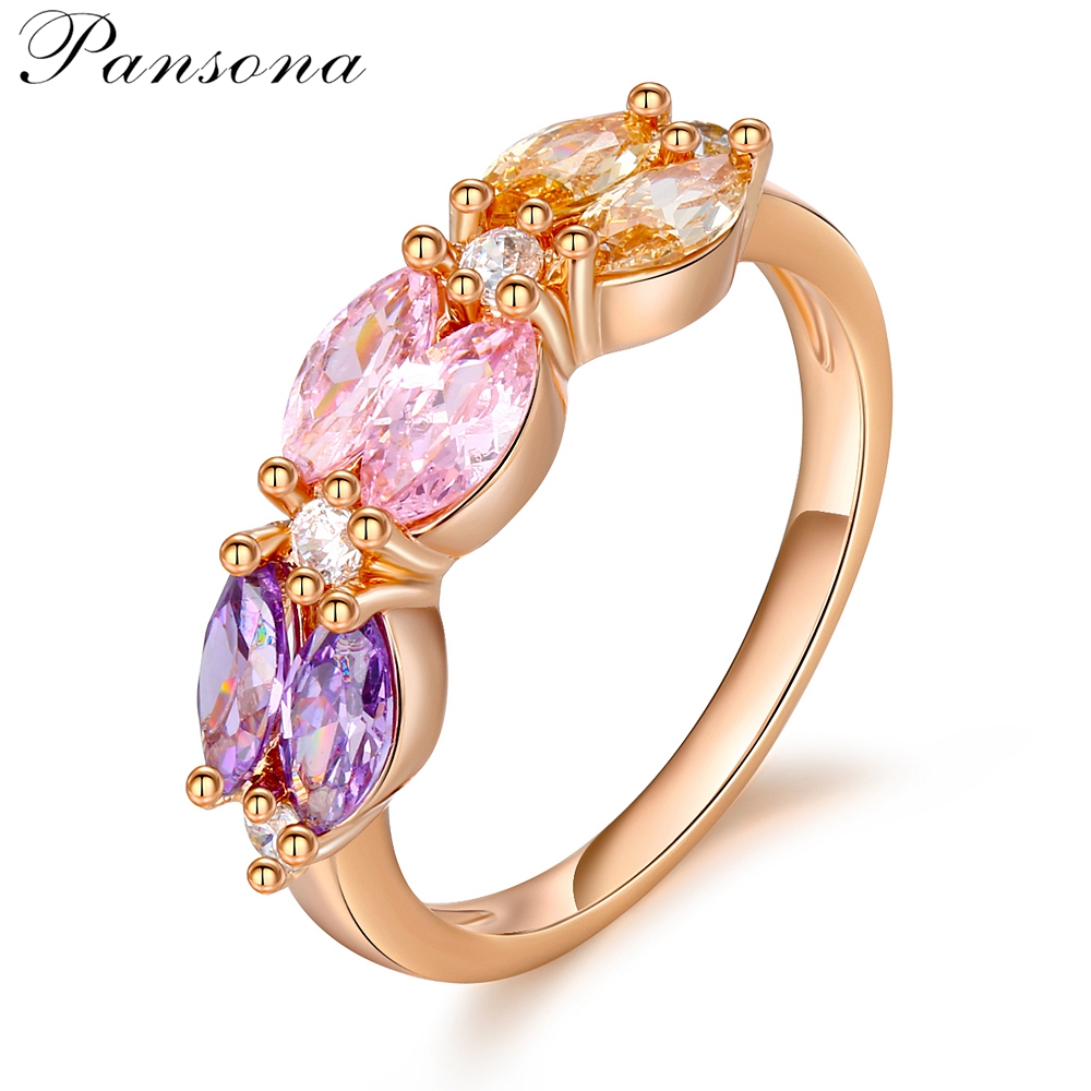 2018 Fashion Rose Gold Rings Women Wedding Bridal Finger Ring with Zircon Clover Jewelry gril`s Birthday Gift RG020