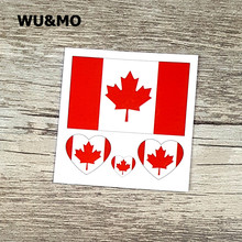 Canada Flags 6X6cm Body Art Sexy Harajuku Waterproof Temporary Tattoo For Man Woman Henna Fake Flash Tattoo Stickers(China)