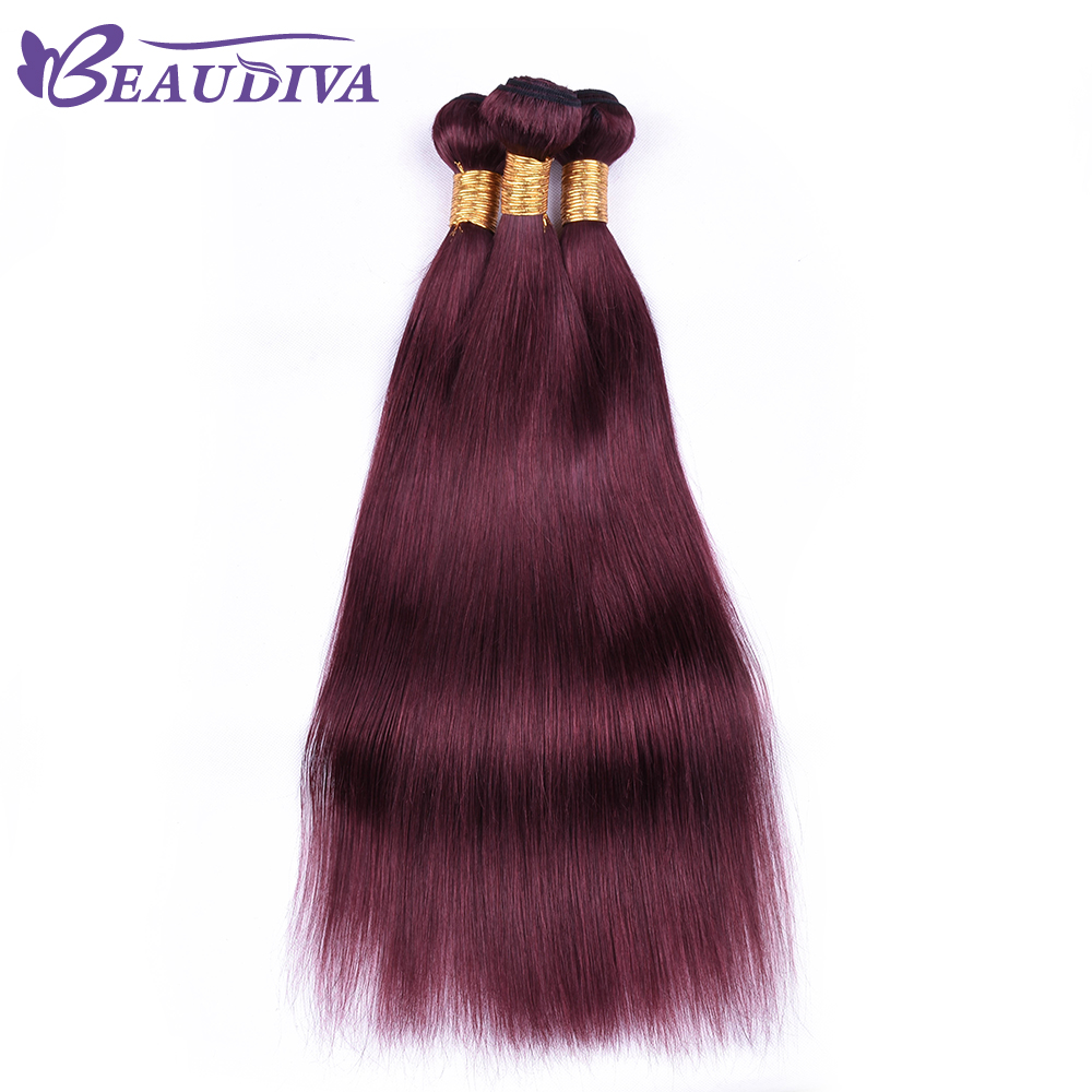 BEAU DIVA Hair 100% Human Hair Bundles Brazilian Straight Hair Weave 4 Piece 8-26 Inches Dark Red Remy Hair Extensions