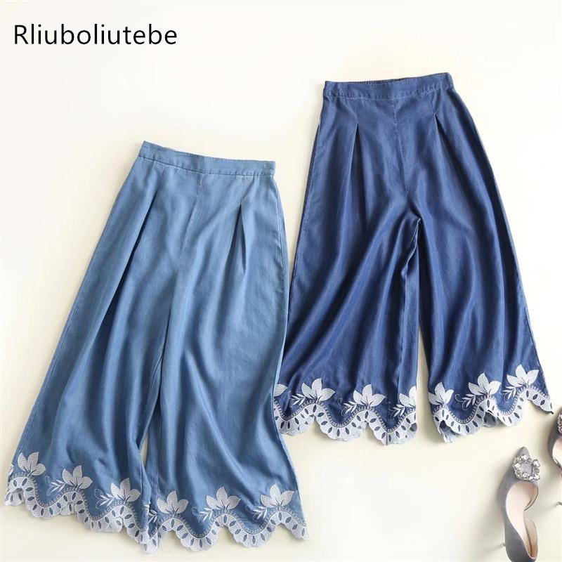 tecel denim   wide     leg     pants   embroidery blue Jeans loose palazzo   pants   elastic waist casual summer casual pleated   pants
