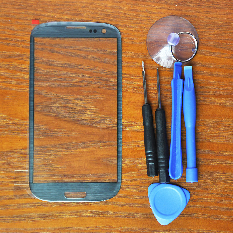Pebble Blau Farbe Outer Touch Screen Top Glass für Samsung Galaxy S3 SIII i9300 i535 L710 i747 T999 + 8 Werkzeuge + Free klebstoffe