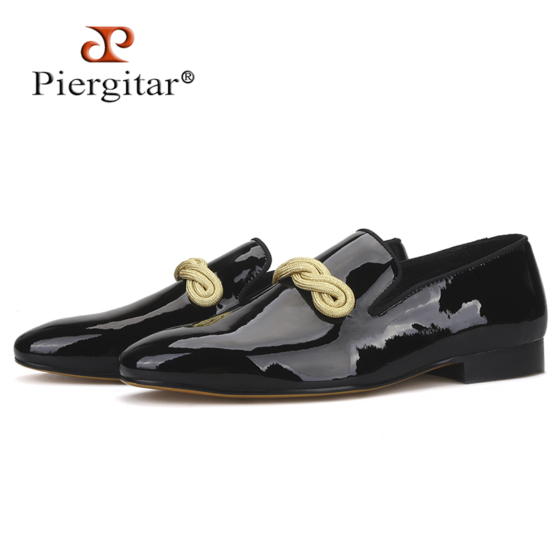 Piergitar 2019 Handmade Men Loafers With Gold Rape Designs Patent Leather Wedding And Party Slip-on Men's Dress Shoes Plus Size