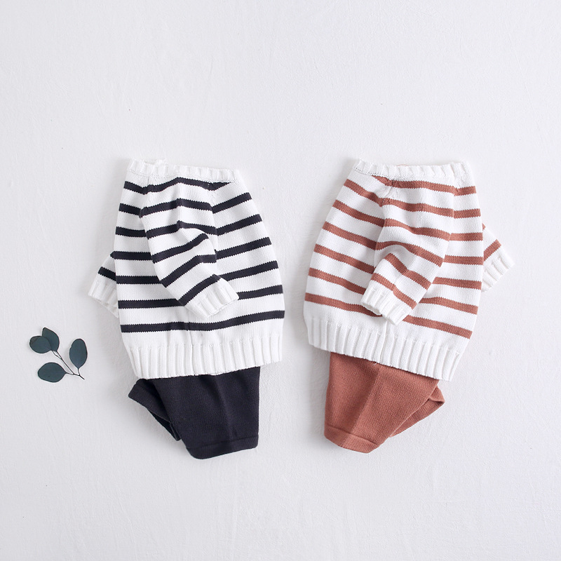 Cute Child Newborn Striped Tees and PP Pants Knitted Outfits Black Brown Color Spring Autumn New