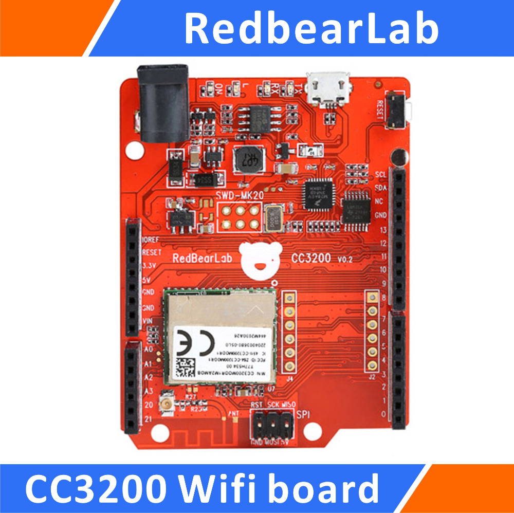 RedbearLab CC3200 WiFi Board Compatible for Arduino Shield 5v 2 channel ir relay shield expansion board for arduino