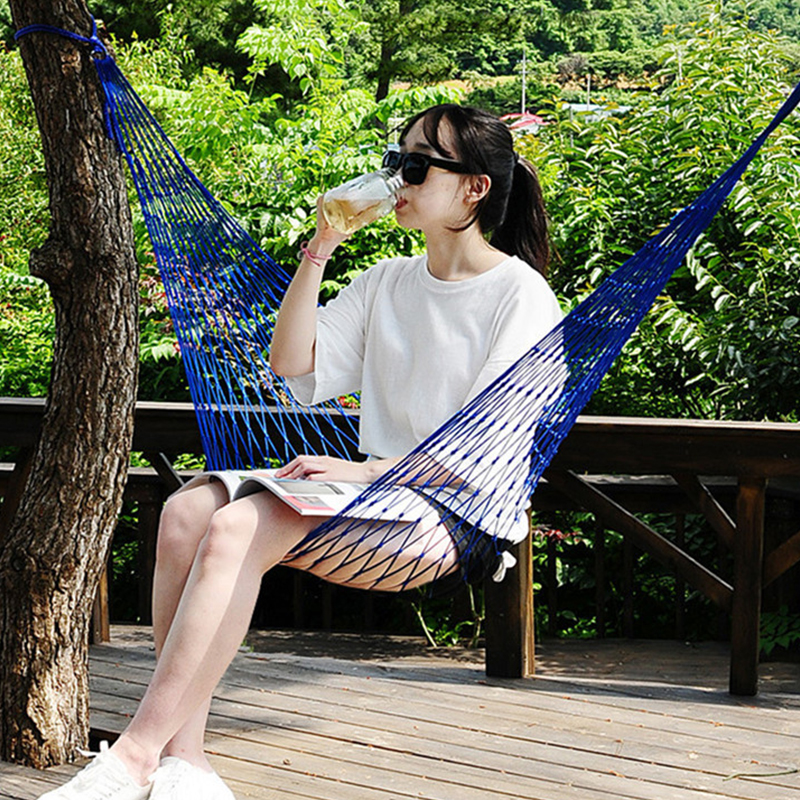 Portable Garden Nylon Hammock SwingHang Mesh Net Sleeping Bed Hamaca For Outdoor Travel Camping Hamak Blue Green Red Dropship X