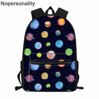 Nopersonality Cool Cartoon Planets Student Backpack for Teenagers Women Casual Shoulder Bags College Student Laptop Backpack