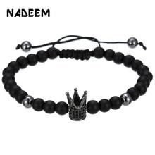 Classic Fashion CZ Crown Charm Bracelet 6mm Black Matte Stone Lover Braiding For Women Mens Pulseras Masculina Gifts