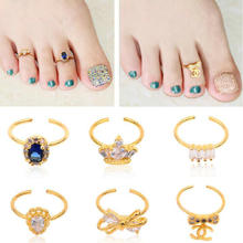 New Bow Crown Rhinestone Diamond Toe Nail Rings Gold Alloy Elegant Wome