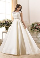 Gorgeous Garden Beach Wedding Dress Scoop Lace Hollow Floor Length A Line Bridal Gowns Custom Made