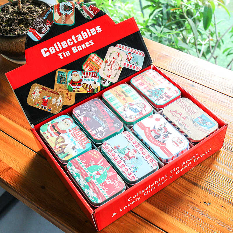8 Pieces/lot Lovely Christmas Gift Tin Box Kids Xmas Candy Receive Box Small Storage Cans Merry Christmas Happy New Year Decor