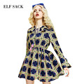 ELF SACK 2017 Spring Plaid Flower Dresses Women A-line Tassel Short Dress Womens Defined Waist Butterfly Sleeve One-Piece