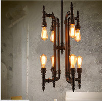 American Industrial Water chandelier creative restaurant retro rustic wrought iron lamp lights clothing store
