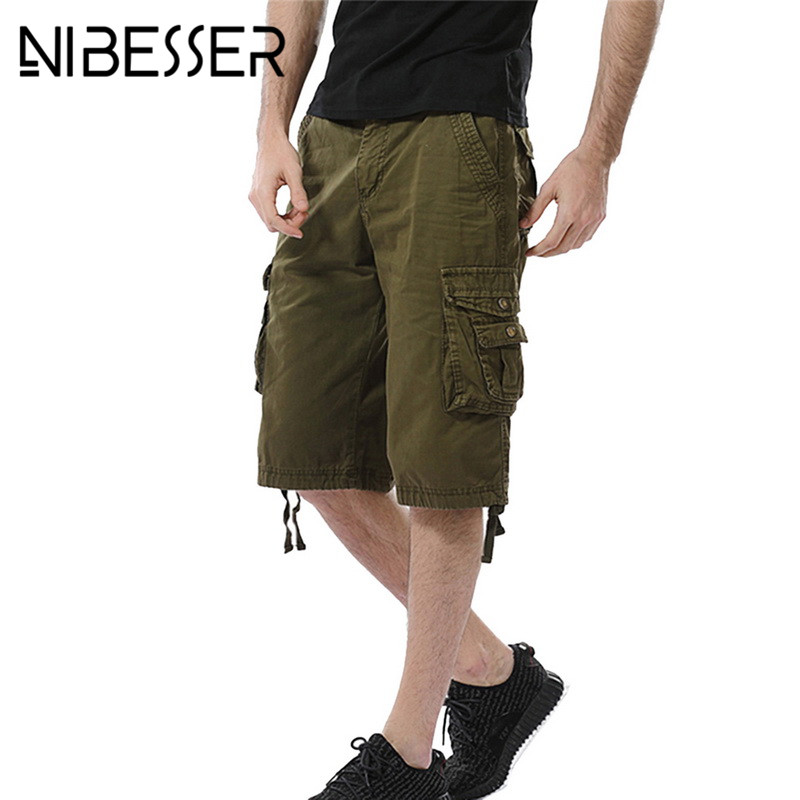 NIBESSER Summer 2018 Casual Men Shorts male Fashion Cargo Army Shorts Homme Big Pocket Shorts Men Short Pants Plus Size New 40