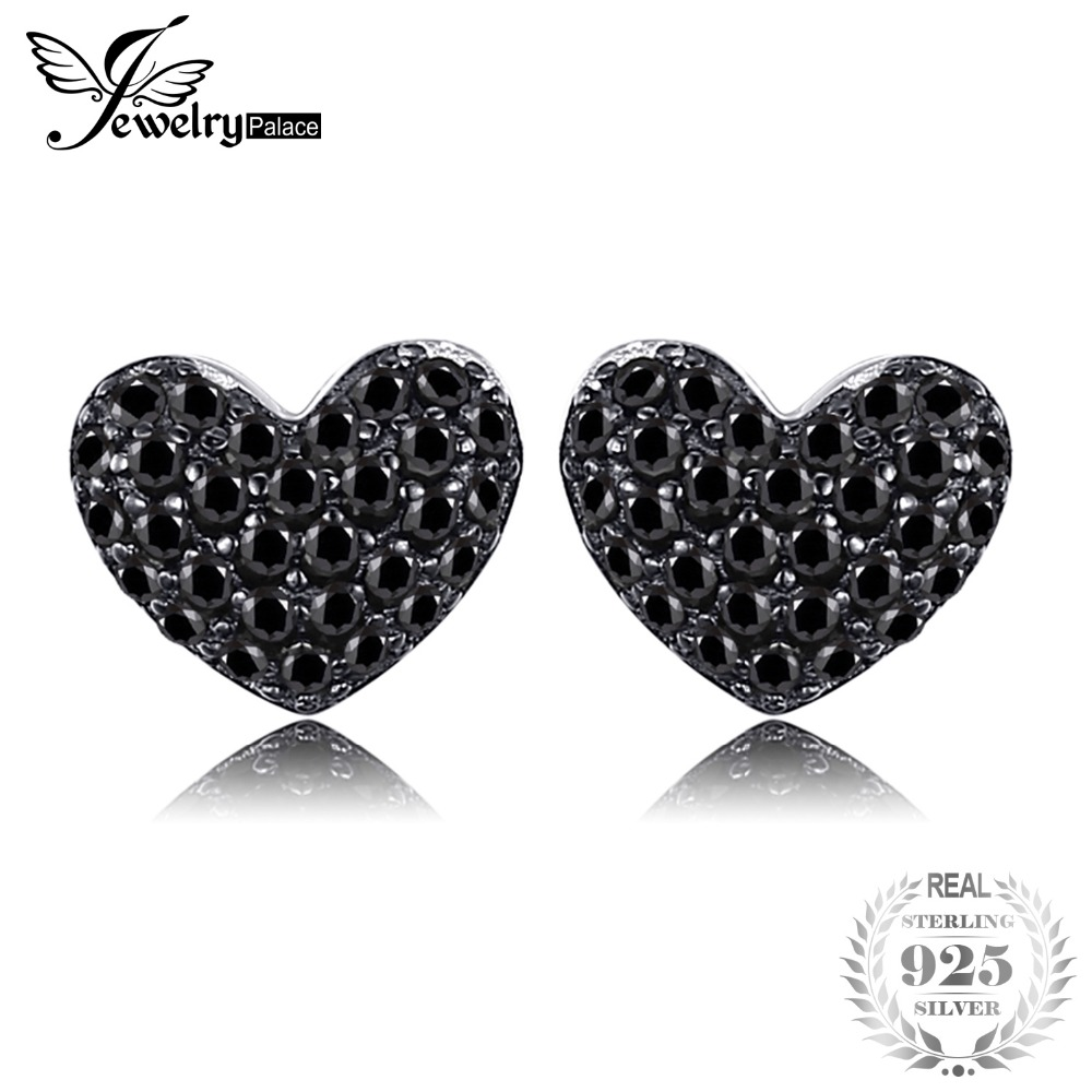 JewelryPalace Fashion 0.29ct Natural Black Spinel Love Heart Earrings For Women Solid 925 Sterling Silver Stud Earrings JewelryJewelryPalace Fashion 0.29ct Natural Black Spinel Love Heart Earrings For Women Solid 925 Sterling Silver Stud Earrings Jewelry