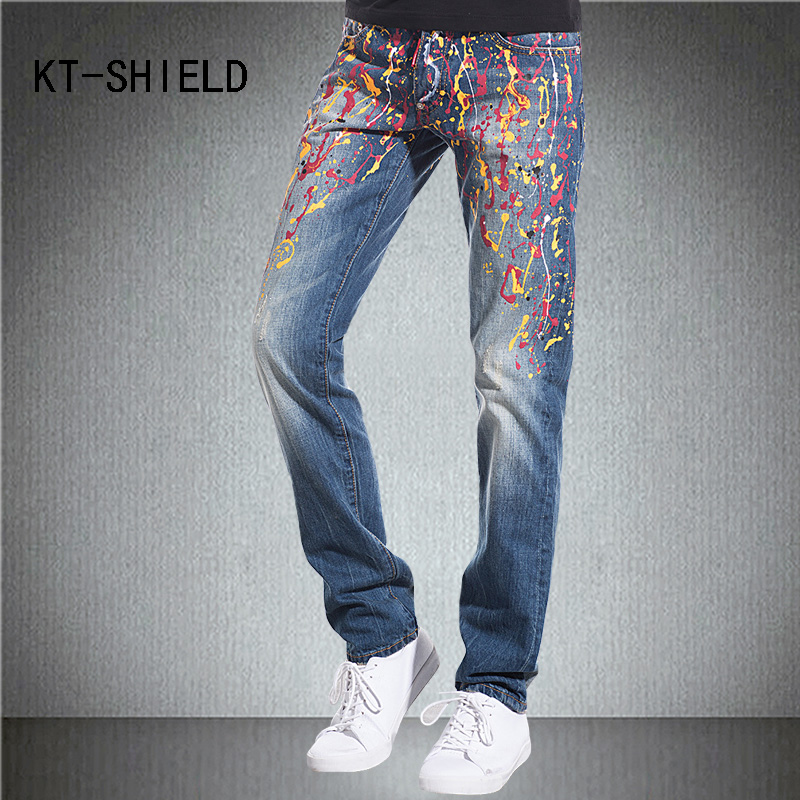 famous brand fashion print slim fit straight Jeans men biker motorcycle ripped Denim pants hombre Hip hop homme casual trousers personality patchwork jeans men ripped jeans fashion brand scratched biker jeans hole denim straight slim fit casual pants mb541