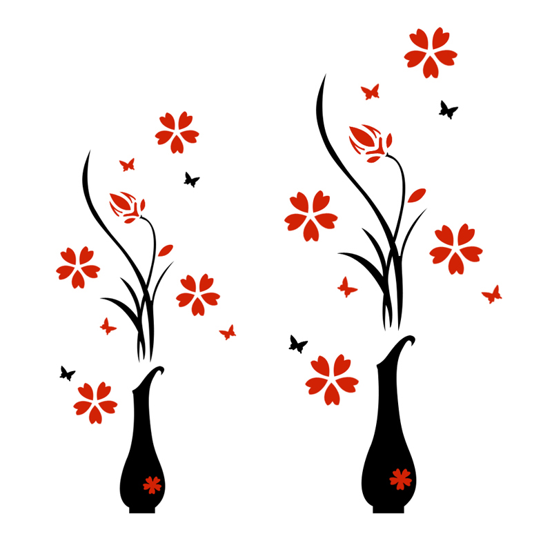 #Cu3 Newest DIY 3D Plum Vase Wall Stickers Home Decor Creative Wall Decals