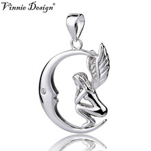 Vinnie Design Jewelry 100% 925 Sterling Silver Moon Angel Pendant Necklace Fine Jewelry for Women Girls Christmas Gifts