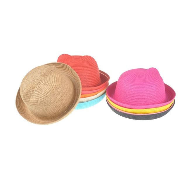 2e6a2253f92 Kids Solid Beach Panama Caps Fashion Ears Straw Hats Baby Hats For Girls  Bucket Hat Boys Cap Children Sun Summer Cap
