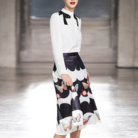 Runway New Fashion High Quality 2019 Spring Party Workplace Sexy White Top Print Butterfly Half Skirt Elegant Chic Women'S Sets