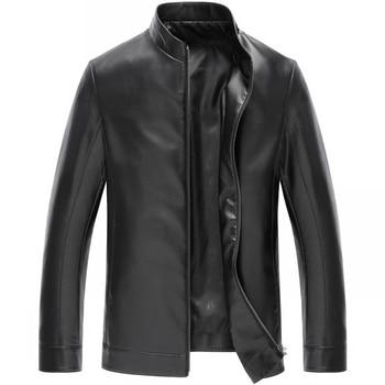 2018 Spring New Men's Leather Men's Fashion Thin Leather Jacket Jacket, Large Size M-4XL