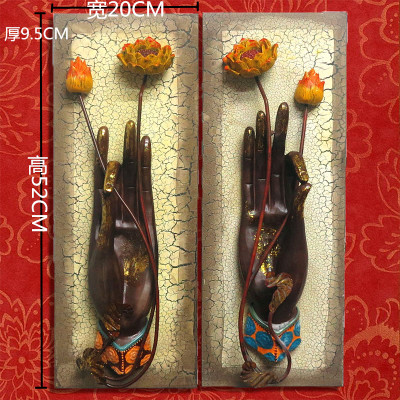 Asie du sud-est style thaïlandais nouveau style chinois décorations murales Zen italien peintures murales Yoga ornements muraux bouddhiste main pendule pièce
