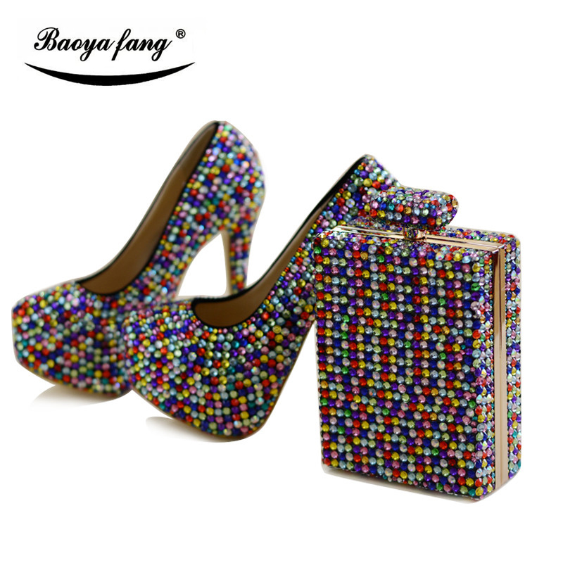 Multicolor crystal women Wedding shoes with matching bags fashion shoe and bag sets Bride party dress shoes high platform shoes aidocrystal fashion handmade crystal diamond party pumps shoes and bags matching wedding shoe and bag sets
