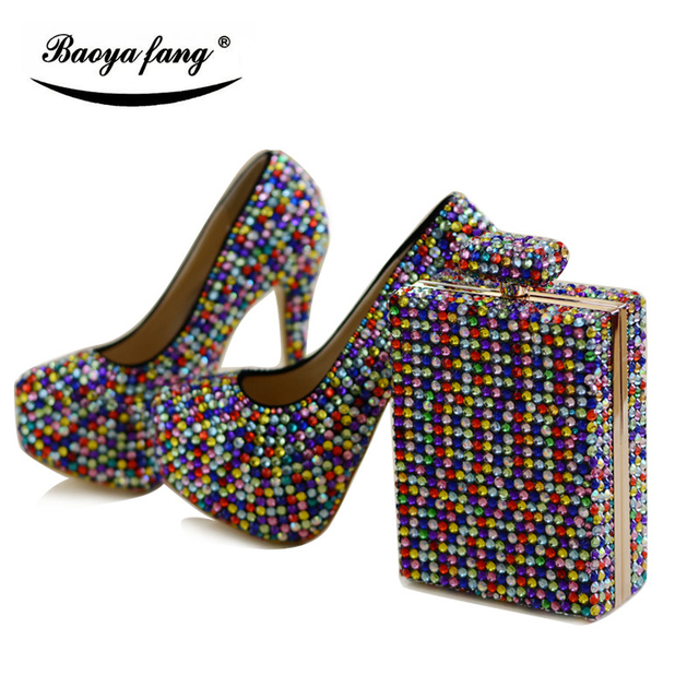 Multicolor crystal women Wedding shoes with matching bags fashion shoe and bag  sets Bride party dress shoes high platform shoes 8769055a3dba