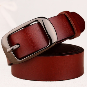 Image 1 - Womens fashion brand strap genuine leather women belt alloy pin buckles vintage belts for womens jeans high quality 10