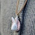 Bepa женские Новизна Керамические Кулон Ожерелья для Женщин Мужчин Ювелирные Изделия Кожаный Шнур или Спрятать Веревку Rabit Крупного Рогатого Скота корова