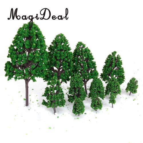 MagiDeal 12Pcs/Lot 1/50 Scale Green Train Set Scenery Landscape Model Tree for Railway Railroad Street Park Garden Scene Layout