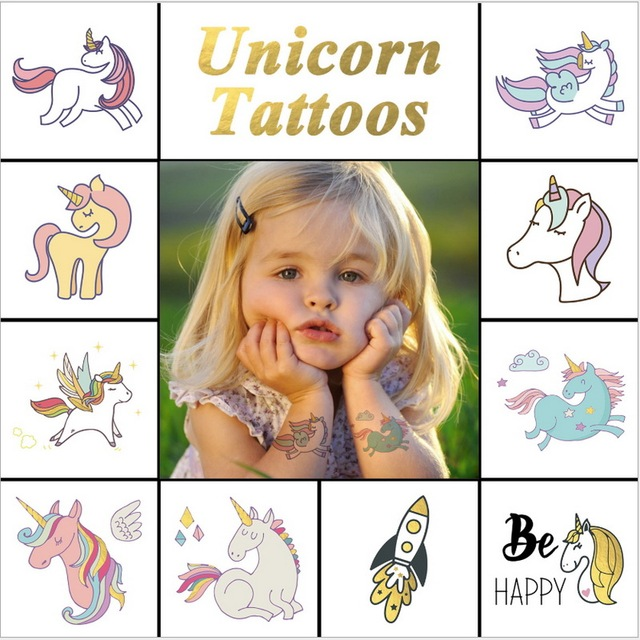 New Colorful Cartoon Unicorn Kids Tattoo Cute Fake Children
