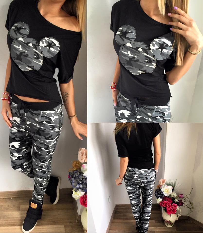 2018 Women Suit 2 Two Piece Set Tracksuit Black T Shirt and Pants Set Fashion Sweat Suits Female Outfit ...