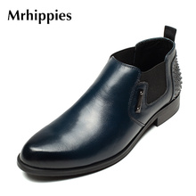 mrhippies High Quality Black Ankle Boot For men High Top Brogue Leather Shoes Man Genuine Leather