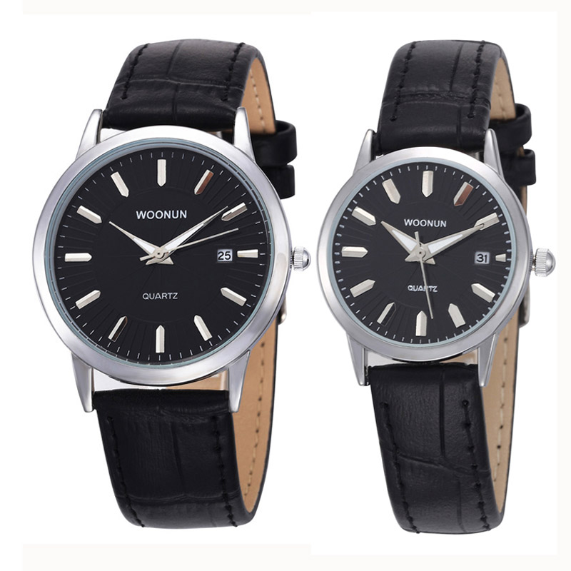 WOONUN Top Luxury Brand Couple Watches For Lovers Genuine Leather Strap Quartz-Watch Fashion Men Women Pair Watches Best Gift