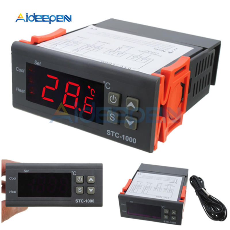 lcd digital temperature controller stc-1000 12v 24v 110v 220v thermostat  thermoregulator incubator relay 10a