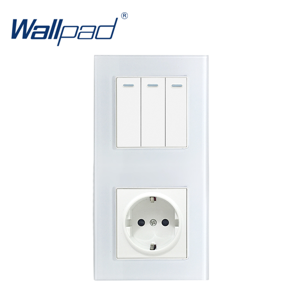 New Arrival Wallpad Crystal Glass Panel 16A EU 110V-240V 3 Gang 2 Way And EU Electrical Power Socket In Veritcal 172*86mm