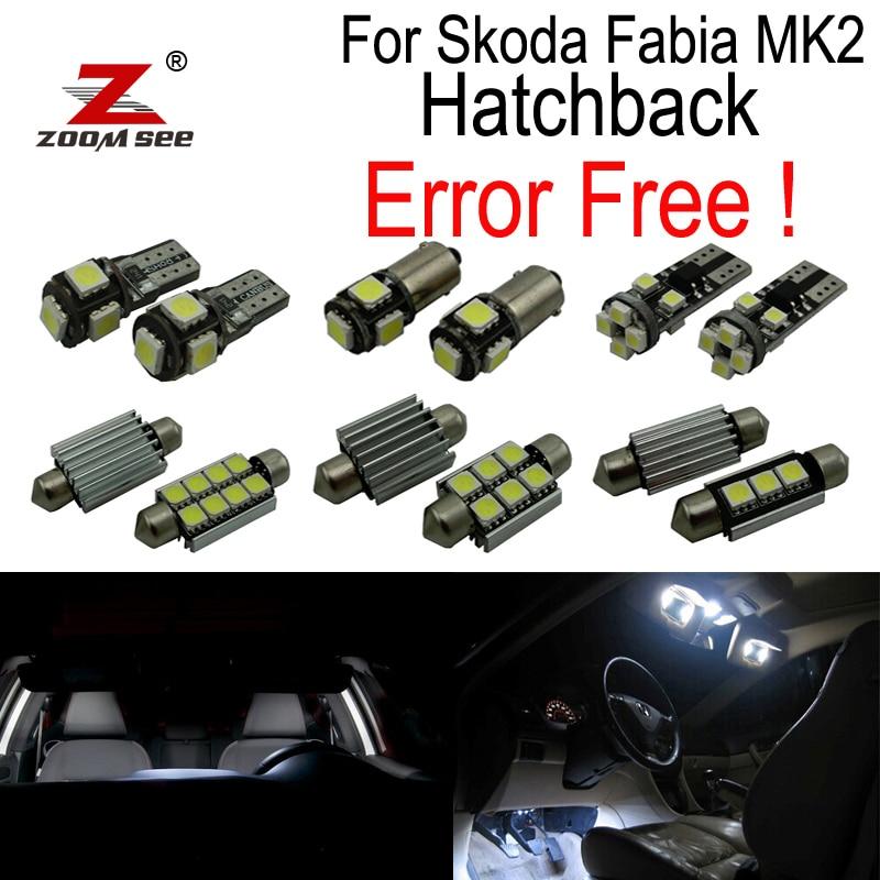 ФОТО ZOOMSEEZ 15pcs license plate lamp LED bulb Interior dome Light Kit for Skoda Fabia 2 MK2 MK II Hatchback (2008-2014)