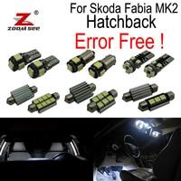ZOOMSEEZ 15pcs license plate lamp LED bulb Interior dome Light Kit for Skoda Fabia 2 MK2 MK II Hatchback (2008 2014)