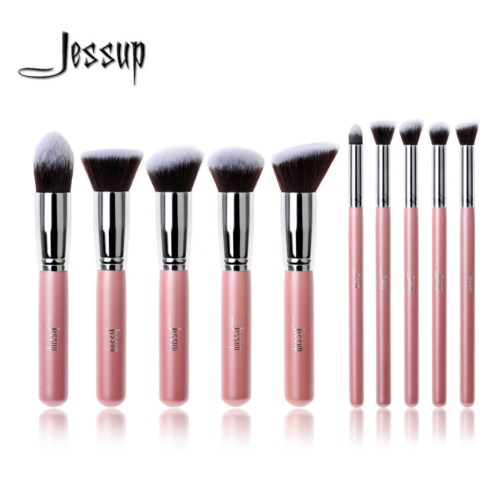 Professional 10pcs Pink/Silver Jessup Brand Makeup Brushes Set Beauty Foundation Kabuki Brush Cosmetics Make up Brushes Tool Kit professional 10pcs blue silver jessup makeup brushes sets beauty kit foundation kabuki precision brush cosmetics make up tools