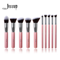 Professional 10pcs Pink Silver Foundation Blush Liquid Brush Kabuki Makeup Brush Tools