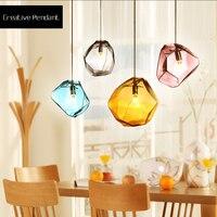 Modern European Restaurants Color Pendant Lights Glass Lamp Creative Bar Glass Polygon Led Hanging Lighting Fixtures AC90 240V