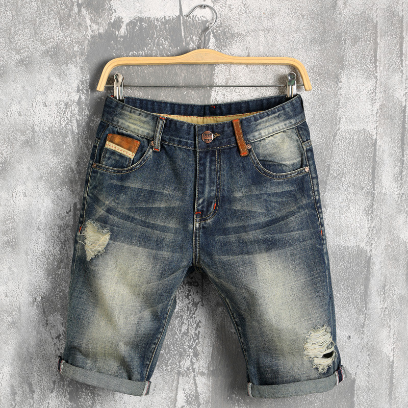 Summer Hole Jeans Shorts Masculina Vintage Ripped Short Jeans Homme Fashion Streetwear Hip Hop Jeans Hombre Denim Shorts Men
