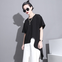 TWOTWINSTYLE 2016 Summer Unique Clipping Asymmetric Design Super Personality T Shirt Women New