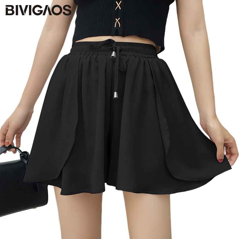 BIVIGAOS Summer New Women Fairy Shorts Skirts Small Fresh Ruffles Chiffon Wide Leg Short Drawstring Casual Loose Shorts Women
